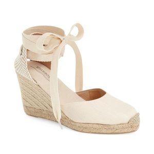Soludos lace up espadrille heels sz 8, blush color